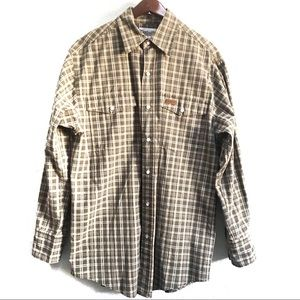 Carhartt Pearl Snap Plaid Button Up Shirt Size S